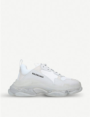 BALENCIAGA: Triple S Clear Sole leather and mesh trainers