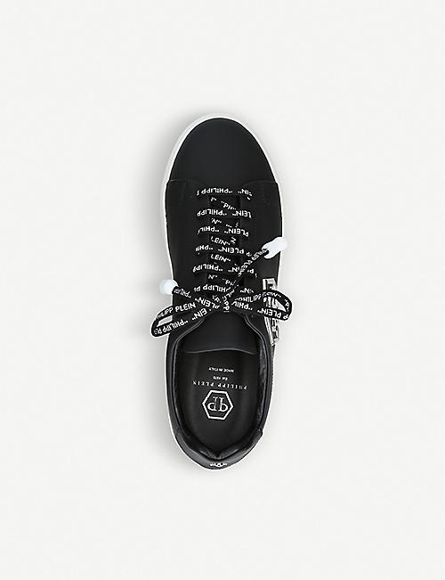 PHILIPP PLEIN Plaque logo leather trainers