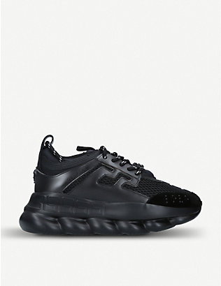 VERSACE: Chain Reaction leather and mesh trainers