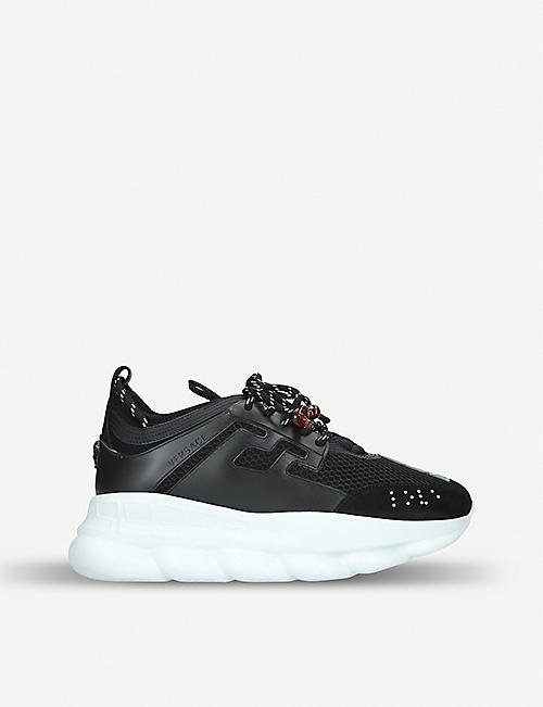VERSACE Chain Reaction leather and mesh trainers 2465487da3bb
