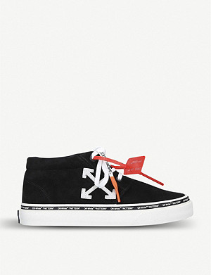 OFF-WHITE C/O VIRGIL ABLOH Logo-embroidered suede mid-rise trainers
