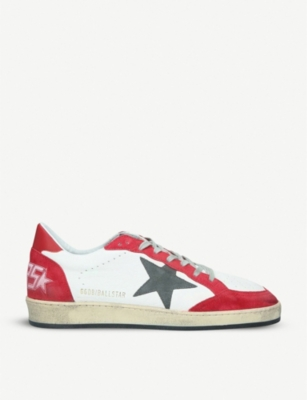 GOLDEN GOOSE Ballstar panelled suede and leather trainers