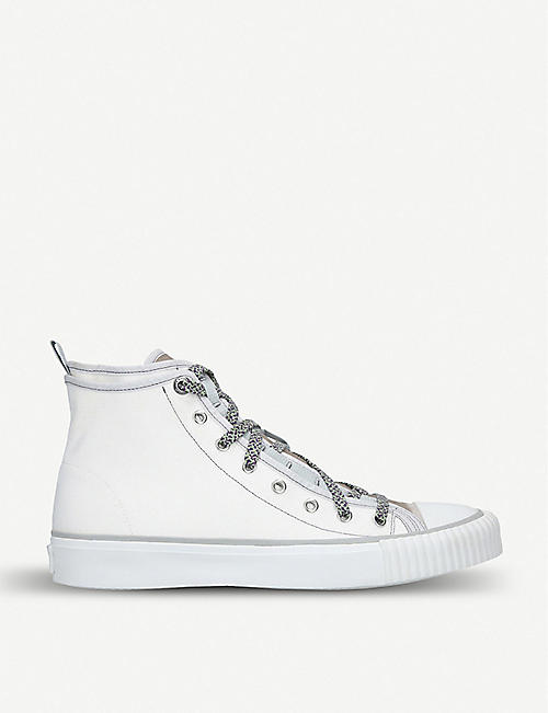 1d6979e5a LANVIN Show canvas and velvet high-top trainers