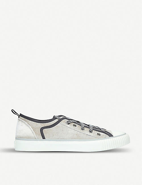 57c653fa0 LANVIN Canvas-trimmed velvet low-top trainers