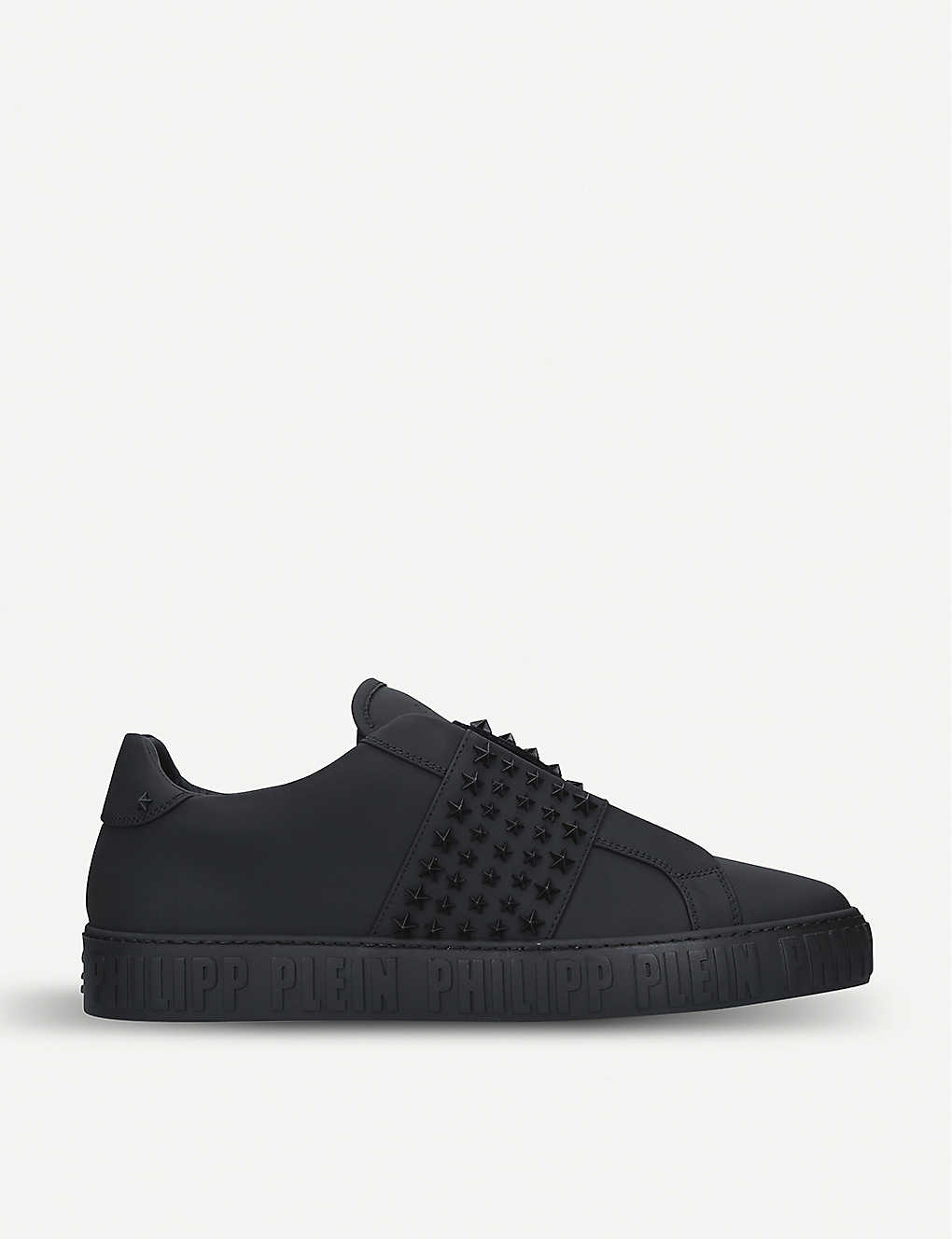 5fd5d6b3a40 PHILIPP PLEIN - Star-appliqué leather trainers | Selfridges.com