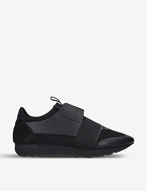 BALENCIAGA Race Runner leather, suede and mesh trainers