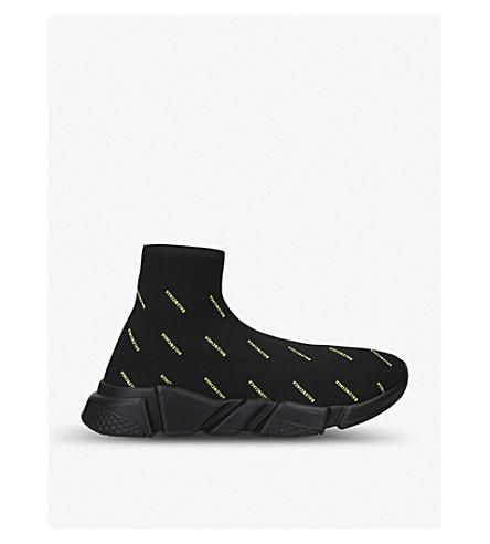 Balenciaga Speed Logo-Print Stretch-Knit Trainers In Black/Comb