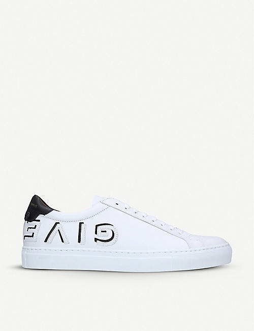 GIVENCHY: Logo-strap leather trainers