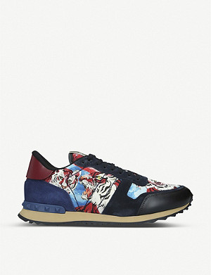 VALENTINO Rockrunner tiger-print leather trainers