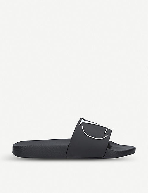 VALENTINO Logo-embossed rubber sliders