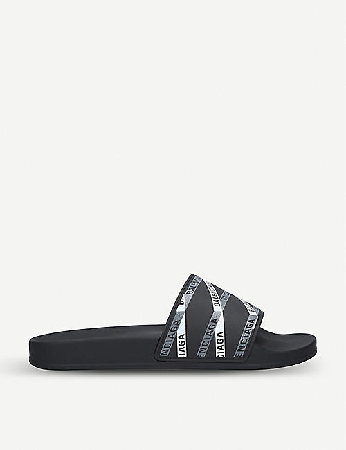f3595db7f BALENCIAGA Logo-print rubber pool sliders