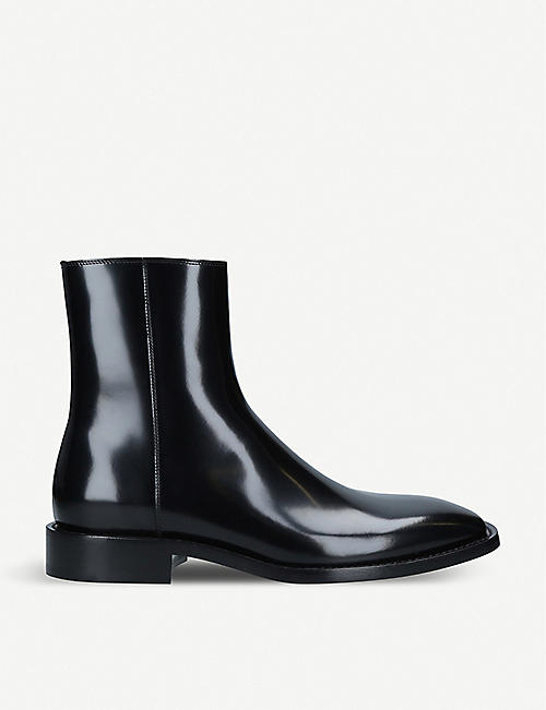 BALENCIAGA: Rim patent-leather ankle boots