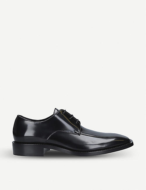BALENCIAGA: Rim high-shine leather Derby shoes