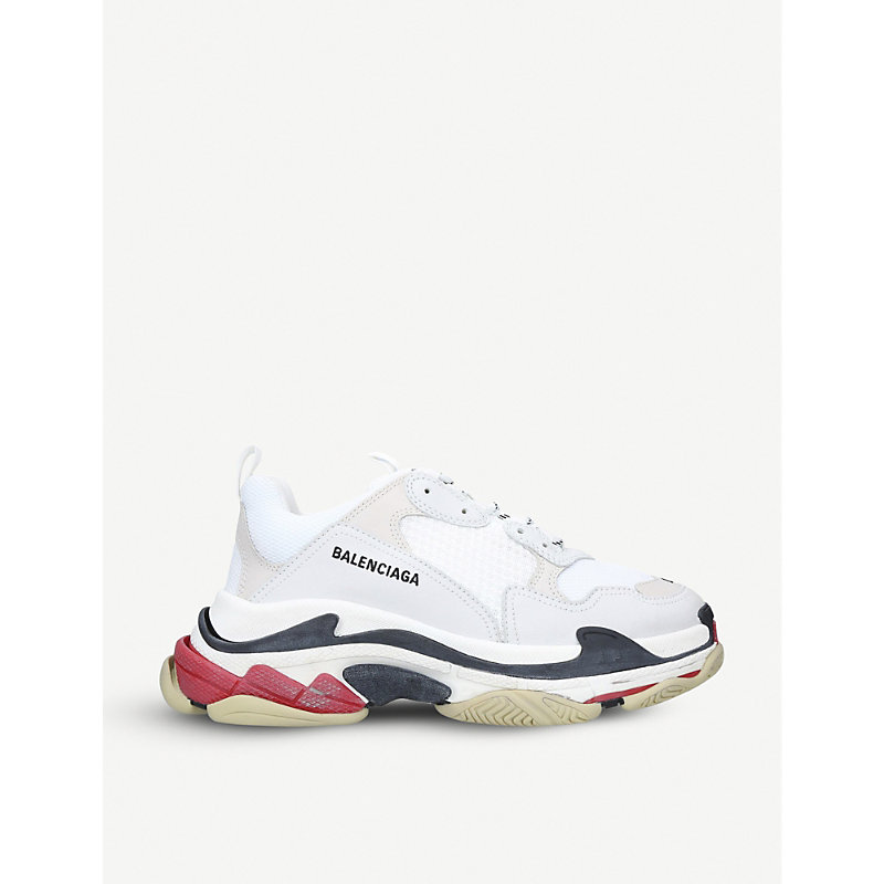 BALENCIAGA | Triple S Leather And Mesh Trainers | Goxip