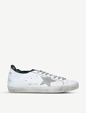 GOLDEN GOOSE Superstar leather and tartan trainers