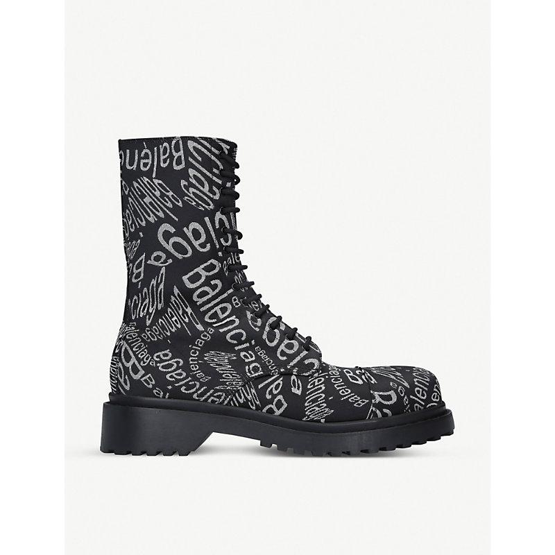 Balenciaga Logo Wave Jacquard Canvas Ankle Boots In Multi