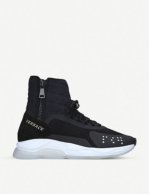 VERSACE Cross Chainer high-top nylon trainers