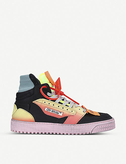 OFF-WHITE C/O VIRGIL ABLOH Off-Court suede, leather and canvas high-top trainers