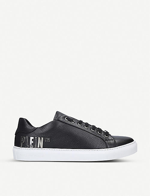 PHILIPP PLEIN Logo-detail low-top leather trainers