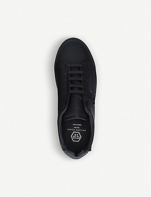 PHILIPP PLEIN Brand-appliquéd leather trainers