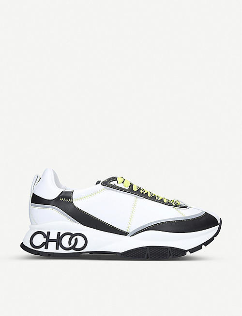JIMMY CHOO Raine neoprene-panelled leather trainers