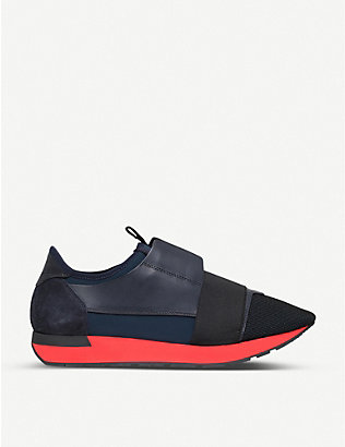 BALENCIAGA: Race Runners panelled mesh, leather and knitted low-top trainers