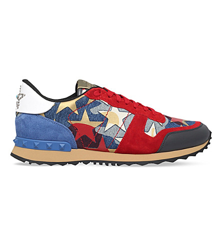 7e98aa234bca VALENTINO Rockrunner star-embellished denim trainers (Red+comb