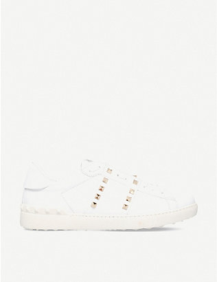 VALENTINO GARAVANI: Tennis stripe stud leather trainers