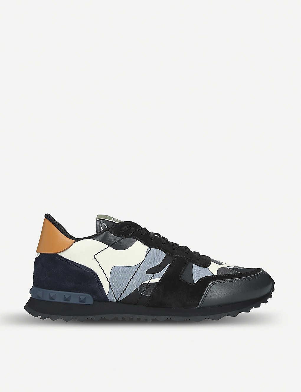 301475b76 VALENTINO - Camouflage studded-heel leather trainers | Selfridges.com