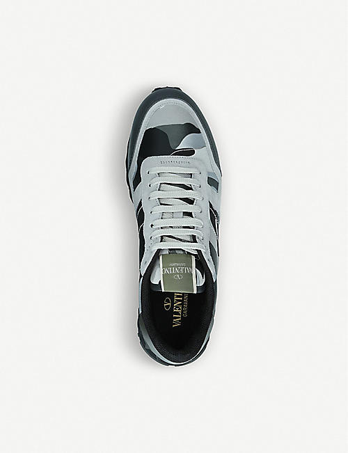 VALENTINO Camouflage suede and leather trainers