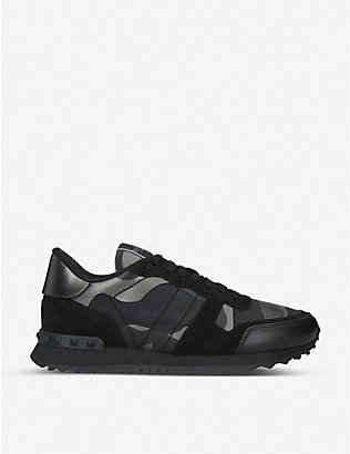 VALENTINO GARAVANI: Full leather camouflage-print leather trainers
