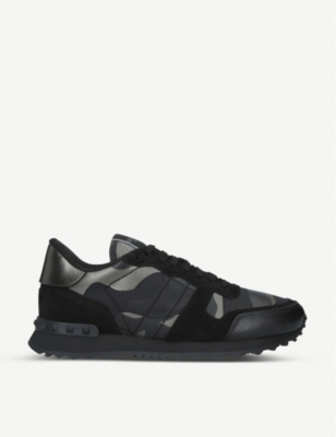 VALENTINO Full leather camouflage-print leather trainers