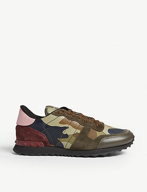 29de3556d56 VALENTINO Camouflage-print leather trainers