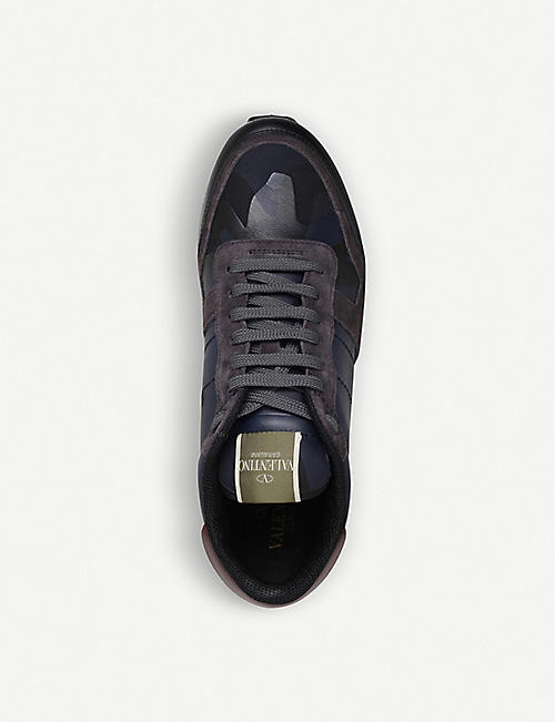 VALENTINO Camouflage leather and suede trainers