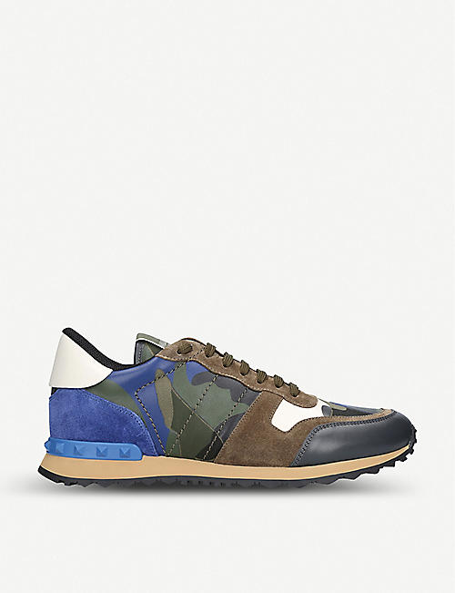 acd9135899fb80 VALENTINO Camouflage leather and suede trainers