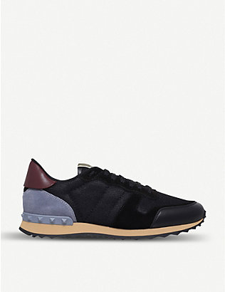 VALENTINO GARAVANI: Garavani Rockrunner leather, suede and mesh trainers