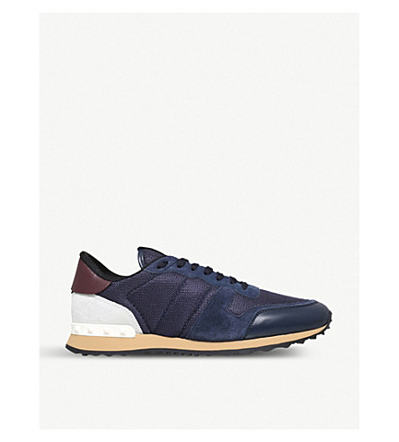 076975a8ea0e VALENTINO Garavani Rockrunner suede and mesh trainers (Blue+other