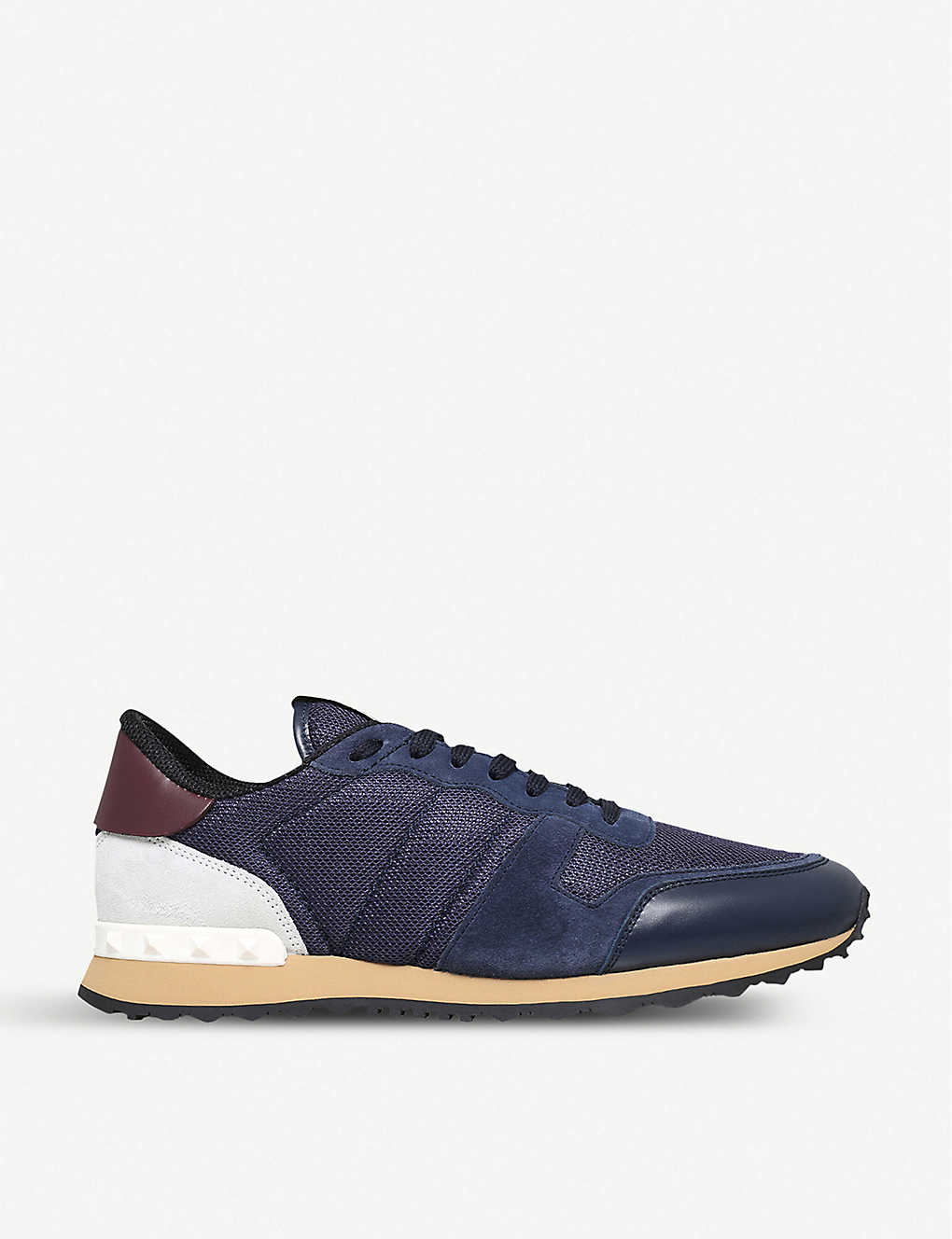 ba542addae35a VALENTINO - Garavani Rockrunner suede and mesh trainers | Selfridges.com