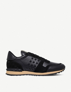 VALENTINO Rockstud leather and suede trainers