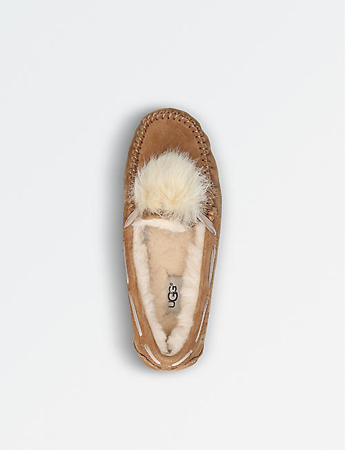 UGG Dakota wool-lined suede pom pom slippers