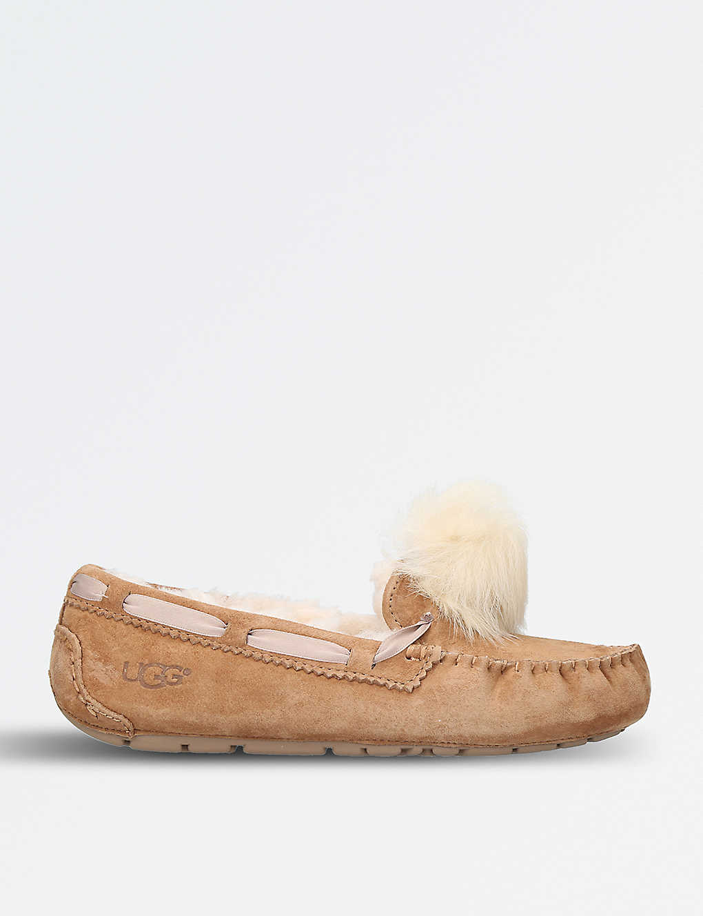 85304b9678f17 UGG - Dakota wool-lined suede pom pom slippers | Selfridges.com