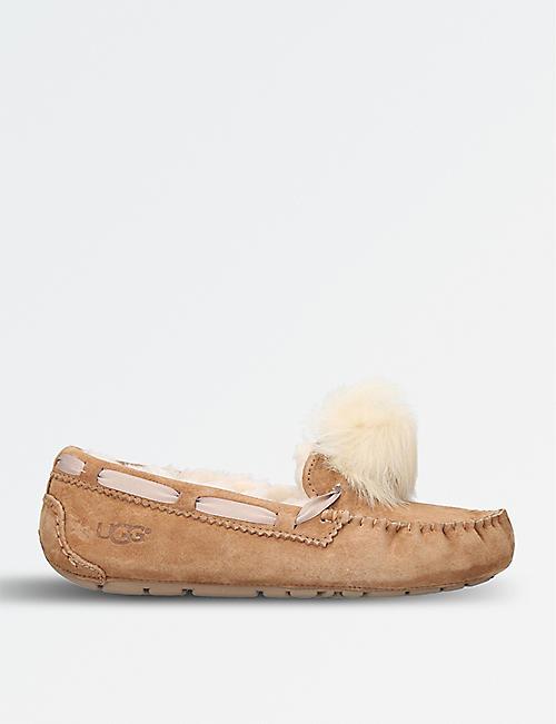 fb7f8212fb5 UGG - Dakota wool-lined suede pom pom slippers | Selfridges.com