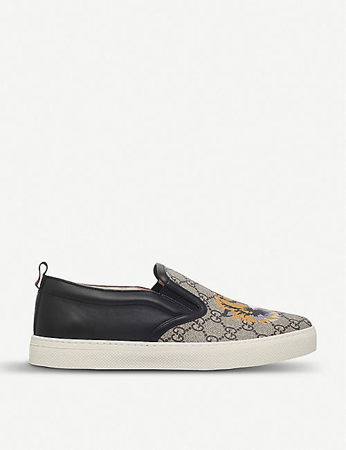 cf9f0fce453cf GUCCI Dublin tiger-print leather and canvas skate shoes