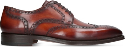 MAGNANNI Wingtip brogue burnished leather derby shoes