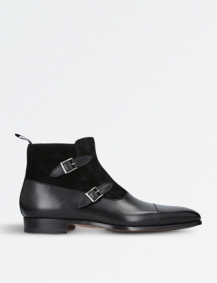 MAGNANNI Double-buckled leather and suede ankle boots