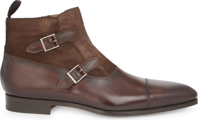 MAGNANNI Leather & suede double buckled ankle boots