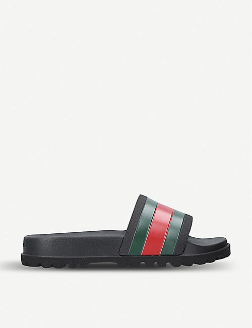 fefdf10df419 GUCCI - Pursuit striped rubber sliders