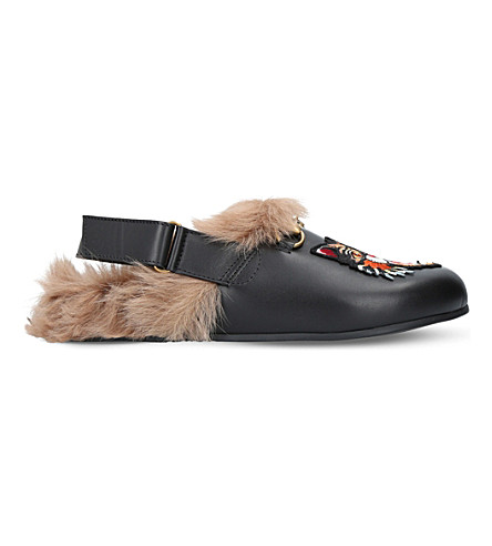 14a2bc2a742d GUCCI River angry cat leather and shearling slippers (Black