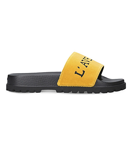 435935e3a121c5 Gucci L Aveugle Par Amour Velvet Slider Sandals In Yellow