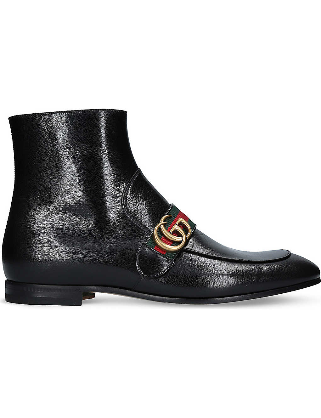55c19e06ab6 GUCCI - Donnie logo-detail leather ankle boots